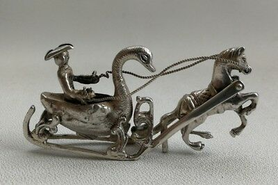 Vintage 1900 Berthold Muller Solid Silver Miniature Horse Drawn Swan Sleigh