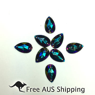 Black AB Teardrop Acrylic Crystal Flatback Rhinestones 12x7mm - 50pcs Sew On