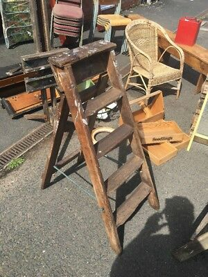 Vintage wooden step ladders All Original With Rope