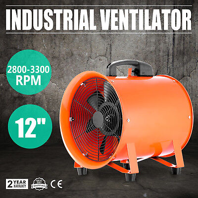 300mm Industrial Extractor Exhaust Fan Blower Telescopic Low Noise Fume 3900m³/h