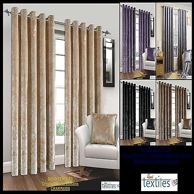 Natural Crush Crushed Velvet Curtains Pair of Fully Lined Ring Top Eyelet Luxury