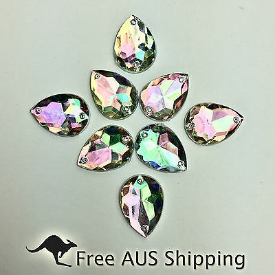 Clear AB Teardrop Acrylic Crystal Flatback Rhinestones 13x18mm - 25pcs Sew On