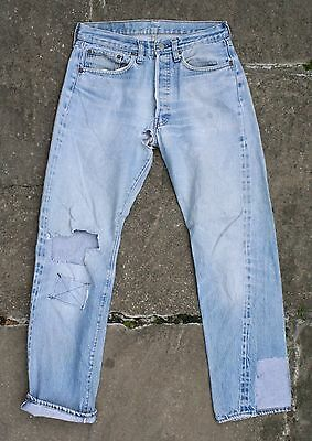 VTG 70s LEVI'S 501 BLUE SELVEDGE DENIM REDLINE JEANS LITTLE E #6 USA W29/W30 L30