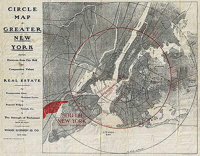 12x18 inch Reprint of Maps Of World Cities Circle Map of Greater New York NY