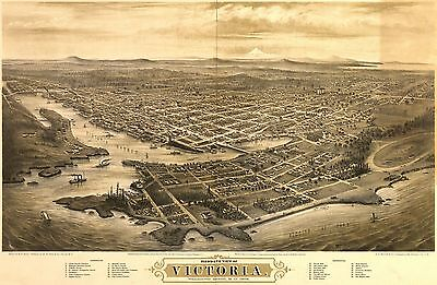12x18 inch Reprint of Old Maps 1878 Birds Eye Views Victoria America Vancouver