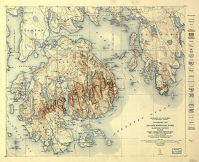 12x18 inch Reprint of American Parks Islands Map Hancock County Maine