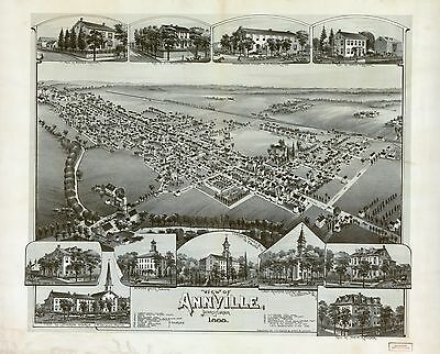 12x18 inch Reprint of American Cities Towns States Map Annville Pennsylvania