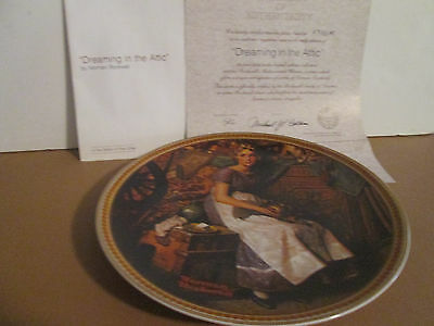 "1981 knowles norman rockwell collector plate ""dreaming in the attic"" w/coa"