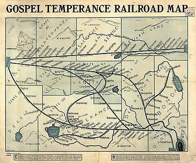 12x18 inch Reprint of Old Maps 1898 Gospel Temperance Railroad Map