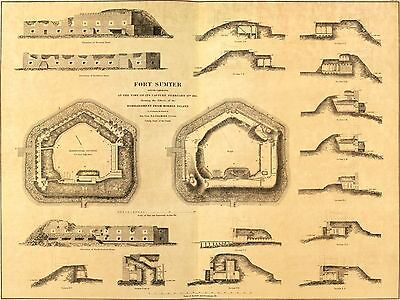12x18 inch Reprint of Map 1865 Plan Of Fort Sumter South Carolina