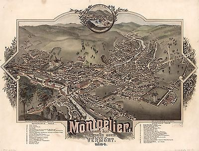 12x18 inch Reprint of American Cities Towns States Map Montpelier Washington Vt