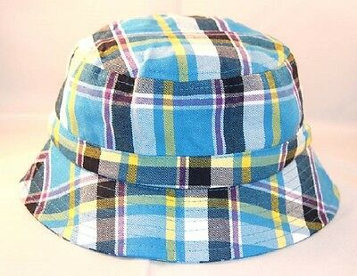 Blue Plaid Baby Boy Bucket Sun Hat Cap Adjustable Cotton FREE SHIPPING