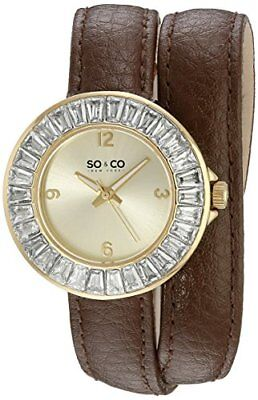 SO&CO New York Women's 5070.2 SoHo Quartz Brown Wrap Around Leather Watch