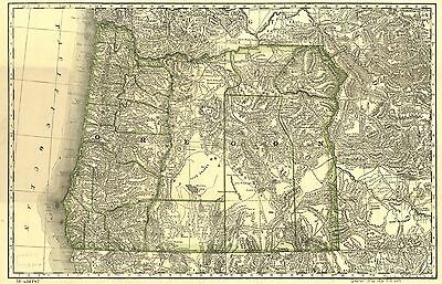 12x18 inch Reprint of American Cities Towns States Map Oregon