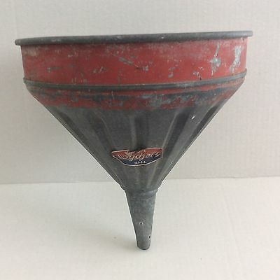 Vintage Delphos Galvanized Funnel Red Band Gas Large Industrial Lamp Farm