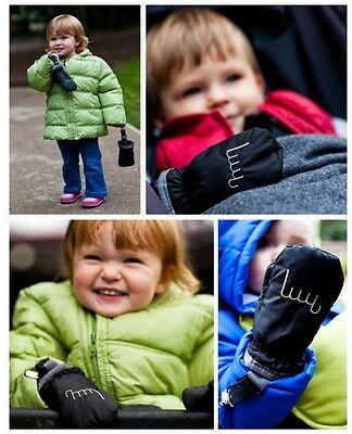 New Bubby Clip On Baby Gloves Baby Mittens Mitts Black