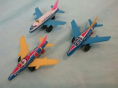 Three Tin Toy Jets Made in Japan