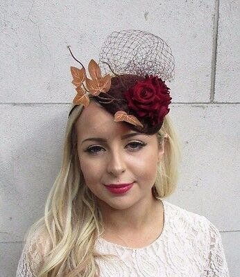 Brown Burgundy Red Rose Leaf Net Fascinator Headband Statement Races Vtg 3693