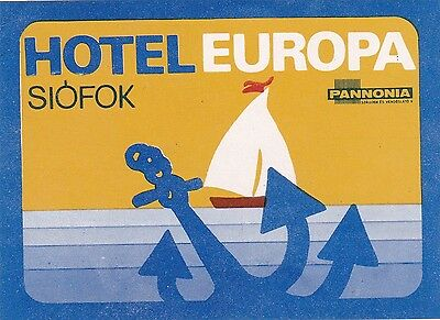 Hungary Sofok Hotel Europa Vintage Luggage Label sk3712