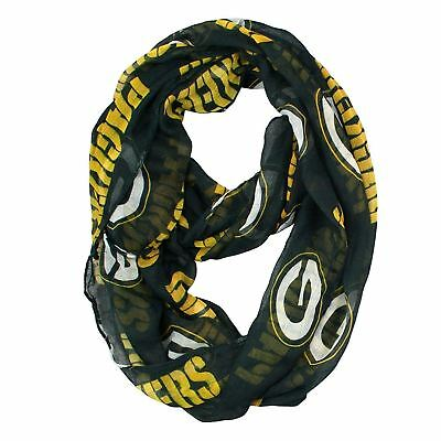 NFL Green Bay Packers Sheer Infinity Scarf, One Size Made of light sheer fabric