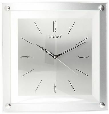 Seiko Wall Clock Quiet Sweep Second Hand Silver-Tone Metallic Case 12 1/4 inches