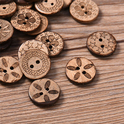 50/100pcs Wood Handmade Wooden Buttons Sewing Scrapbooking DIY 2 Holes 8 Styles