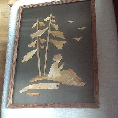 Lovely Marquetry Vintage Straw/Veneer Folk Art Picture