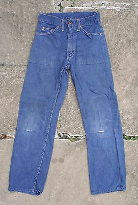 VTG 50s 60s PENNEYS BLUE SELVEDGE DENIM ZIP FLY JEANS USA BOYS YRS 9-10 W23