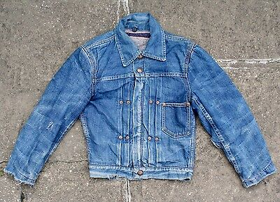 VTG 50s CIRCLE RANCH BLANKET LINED TYPE I STYLE PLEATED DENIM JACKET BOYS S/M