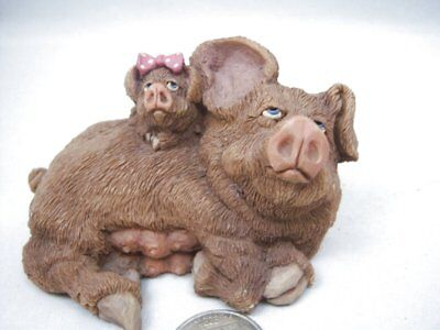 Vintage D&D Studios Frumps Mother Norma & Sadie Baby Pigs Piggy Figurine