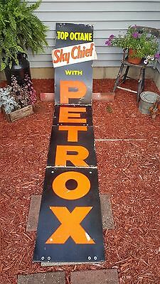 Authentic Vintage Texaco Sky Chief Petrox Gas Station Pump Banner Sign - 9 FEET!