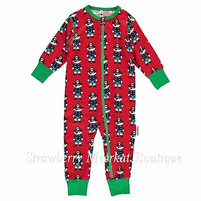 New Maxomorra Red Pirate Brown Baby Button Romper Rompersuit 44 56 62