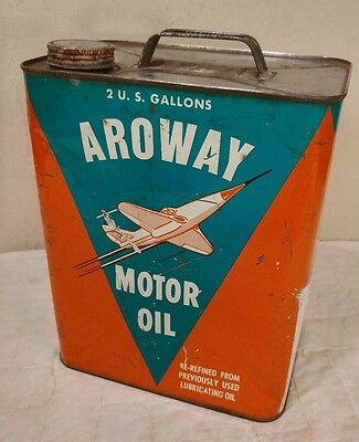 Vintage Aroway Motor Oil 2 Gallon Oil Can - Jet Graphic - COOL!