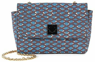 M MISSONI NWT Purple Teal Blue Coated Canvas Gold Chain Shoulder Bag