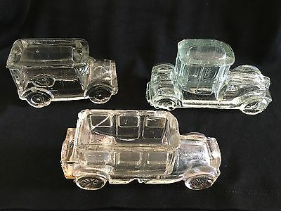 Antique glass candy containers  Lot of 3:  Limousine, coupe and flat-top hearse