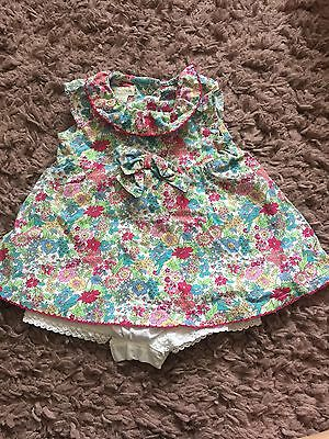 Baby Girl Monsoon Dress With Built In Bloomers 0-3 Months