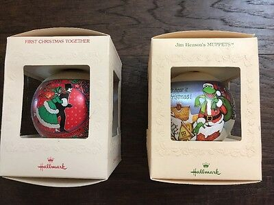 """2 Pc Vintage 1981 Hallmark Ornament """"Muppets"""" & """"First Christmas Together"""""""