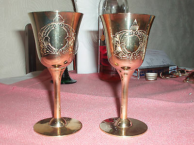 Pair of Electro Plated Nickel Silver Goblets
