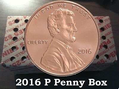 2016 P Shield Uncirculated Lincoln Cents Unopened 50 Roll Box 2500 Total Pennies