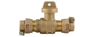 """Ford Brass 1"""" CTS x 1"""" CTS Ball Valve Curb Stop Pack Joint B44-444M FAST! ED8"""