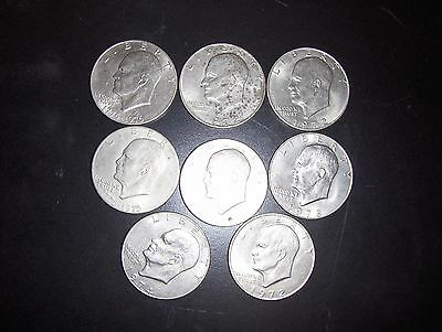 8 Eisenhower Silver Dollars, All Circulated