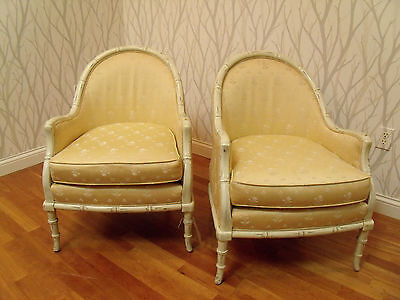 Pair Barrel Chairs Hollywood Regency Faux Bamboo Widdicomb Style
