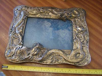 Large Antique ORIENTAL Lobed Silver Plated Picture Frame with Double Dragons