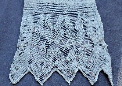 """Embroidered Tulle lace Lappet, V. Good Condition, 49.5"""" Long, 5.5"""" Wide at  Ends"""