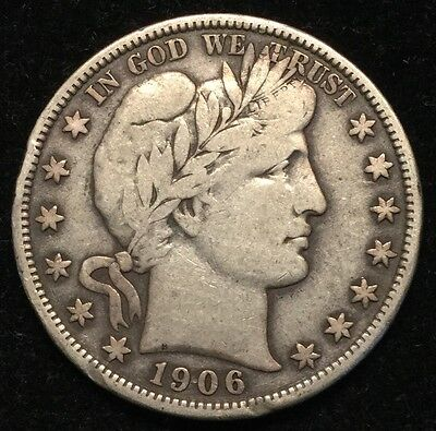 1906-S Barber Half Dollar 50C (Couple Of Rim Dings)- VF #