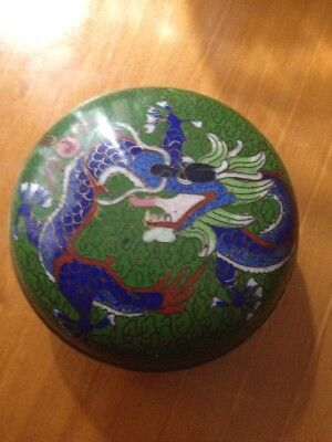 Vintage Green Cloisonne Pot With Lid Chinese Dragon In Blue Trinket