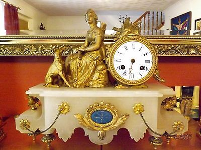Attractive 19th Century Gilt and Alabaster Figural 8 Day Mantle Clock