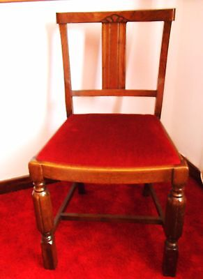 Quality c1930s solid Oak Hall Dining chair, repolished and seat reupolstered