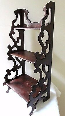 Vintage Mahogany Fretwork Display Curio Shelves Hanging Gingerbread Carved Wood