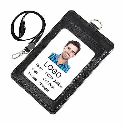 Acctrend Badge Holder Genius Leather ID Badge with Lanyard-3 Cards Slot-Black...